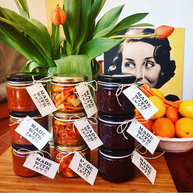 Keep an eye out for our family pickles & preserves . . .  Mother-in-law Pickle Mum's Tomato Relish Goldi's Raspberry, Strawberry, Vanilla & Rose Jam @thefoodrepository . . . . Yum! x