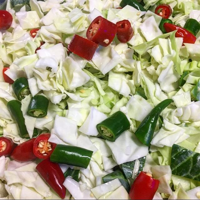Cabbage & Chillies 🌶 waiting for their fellow vegetable friends . . . . Let the pickle process begin! x