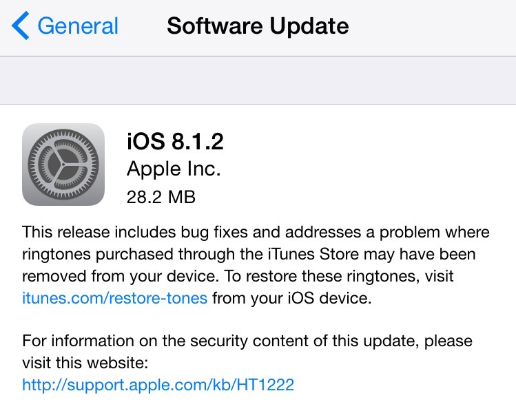 Screen Shot of iOS 8.1.2 update