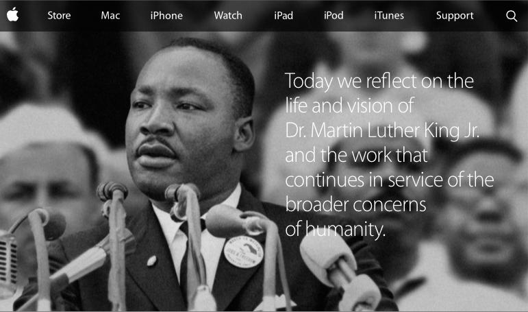 Apple's MLK homepage 2015