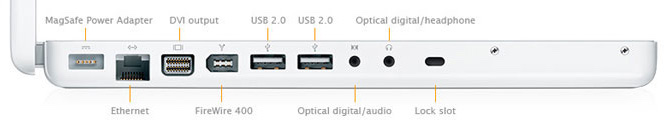 MacBook 13-inch early 2008 ports