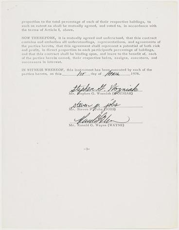 Apple founding agreement April 1, 1976