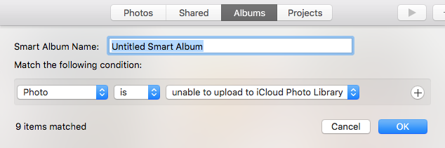 Screenshot of Smart Album settings