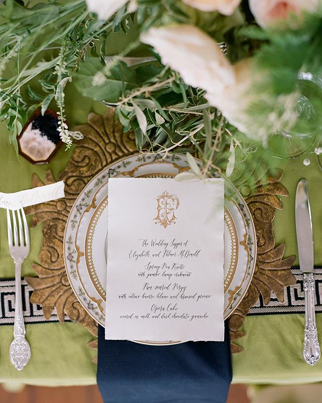 MENU // Letterpress and gold engraved monogram menus created for an event with Calder Clark. Photo by Elisa Bricker. Featured in Southern Weddings Magazine.  CREATIVE TEAM // @SouthernWeddings @calderclark @elisabricker @richardphotolab @kshgevents @blossoms_events @ashandcobridalhair @crucatering @jim_smeal @yonderdesign @lowcountryvalet @snyderevents @eventworksrentals @nuagedesignsinc @smallmasterpiece @carolinaherrera @betty_bridal @croghans @the_mrs_box @emmakatzkabridal @heidielnoraatelier @menguintux @dellatorredesigns  TAGS // #yonderdesign #calderclark #southernweddings #southernweddings10 #magnolia #charlestonwedding #wedding #invite #invitation #weddinginvitations #custominvitations #calligraphy #monogram