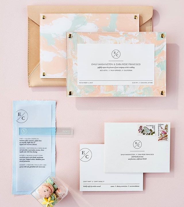 PAINTED INVITATION // The letterpress invitation is framed by an abstract hand painted design and framed with clear acrylic.  Each individual piece is a unique work of art for guests. Featured in Martha Stewart Weddings. Photo by Chelsea Cavanaugh.  CREATIVE TEAM // @yonderdesign @martha_weddings @chelseammc  TAGS // #custominvitation #marthastewartweddings #yonderdesign #pastel #wedding #eventdesign #palmsprings #acrylic #paint #vellum #letterpress #pastelwedding #weddingdesign #yonder #yonderdesign #invitationsuite #invitation #custominvitations #invites