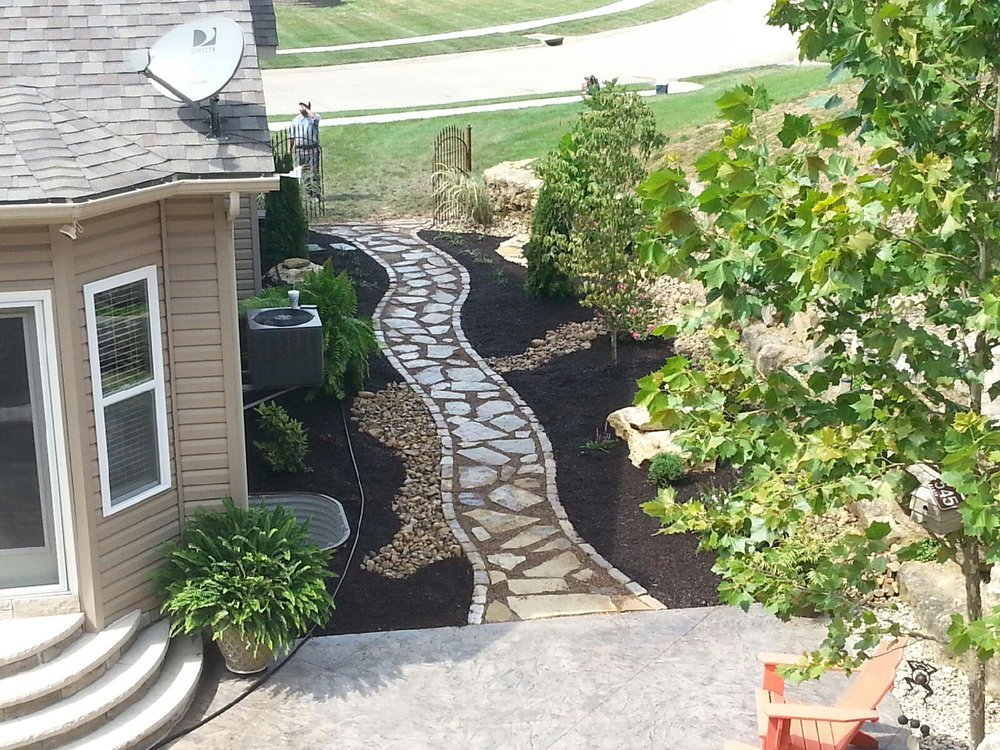 stone path landscaping landscape st charles - Creating An Oasis In One St. Louis County Backyard — Hackmann Lawn