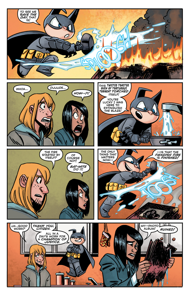 Fire isn't a problem in the fifth dimension... it's not Bat-Mite's fault.