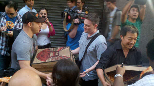 Dude is delivering pizzas with Jim Lee and Scott Snyder on Wednesday at Midtown Comics. he is a hero and a hunk (image courtesy of Midtown Comics)