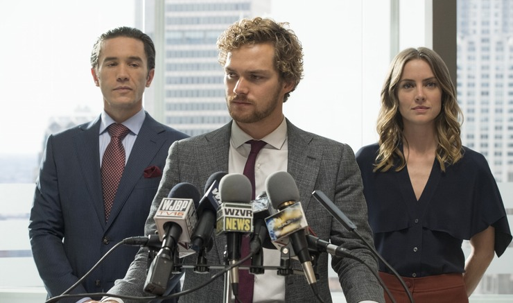Ward Meachum (Tom Pelfrey), Danny Rand (Finn Jones), and Joy Meachum (Jessica Stroup)