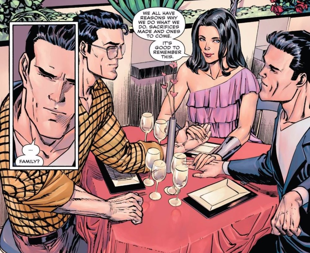 It looks like Diana just pro-posed an Eiffel tower, and Bruce and Clark are sizing each other up