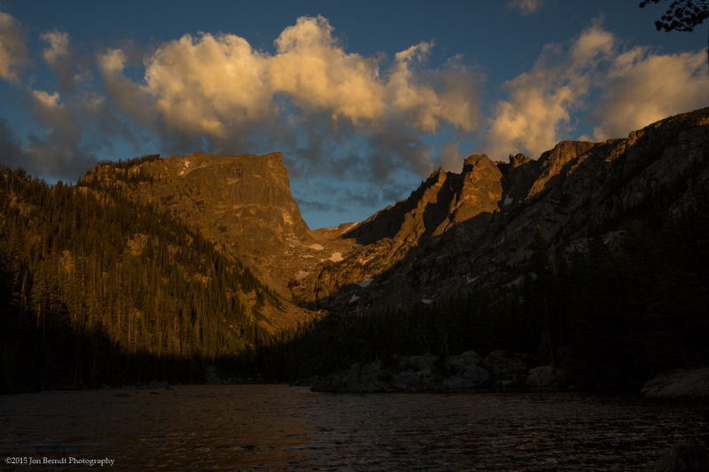 Hallett Peak from Dream Lake east shore at sunrise.