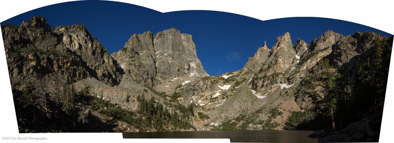 A panoramic image from the end of the trail at Emerald Lake.