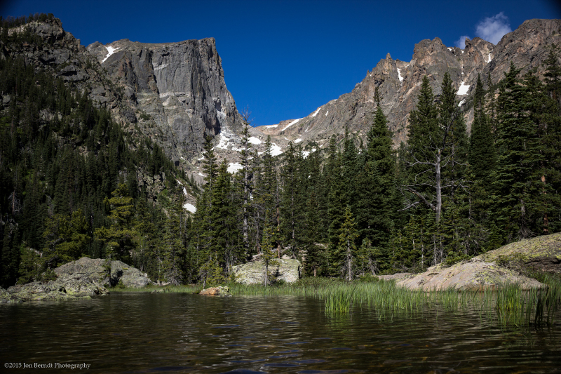 On the way to Emerald Lake from Dream Lake. Hallett Peak rises over the landscape.