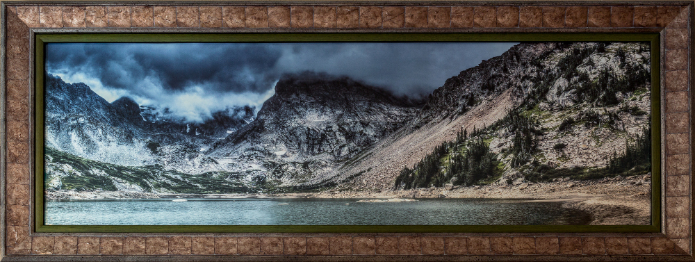 """""""Storm at Lake Isabelle (Panorama)"""" photographed at The Walnut Gallery in Louisville, Colorado. Shoshoni Peak is at center."""