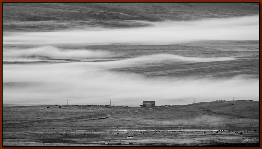 """""""South Park Ranch Land"""" ©2016 Jon S. Berndt   Ranch land in South Park, with morning fog beginning to lift."""