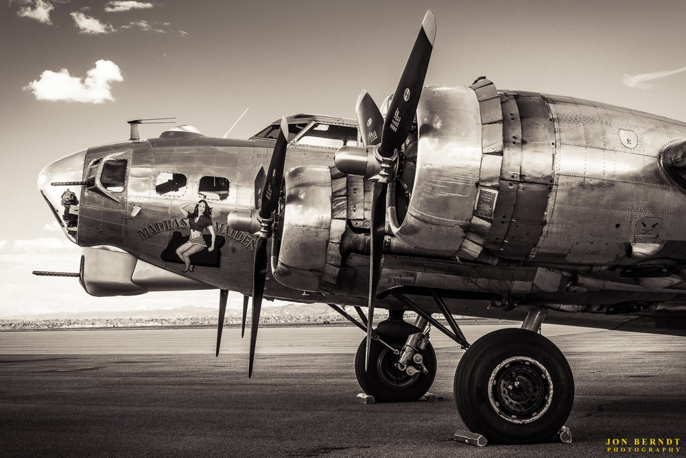 "B-17G ""Madras Maiden"". The nose art was painted by aviation artist  Gary Velasco . For this image I wanted a 1940's look, it's a little lower in contrast and has a slight sepia tone to it."