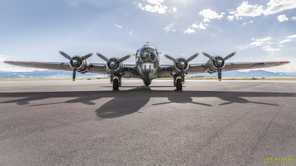 "B-17G ""Madras Maiden"", head on. The lighting and shadows worked well for this shot on the runway."