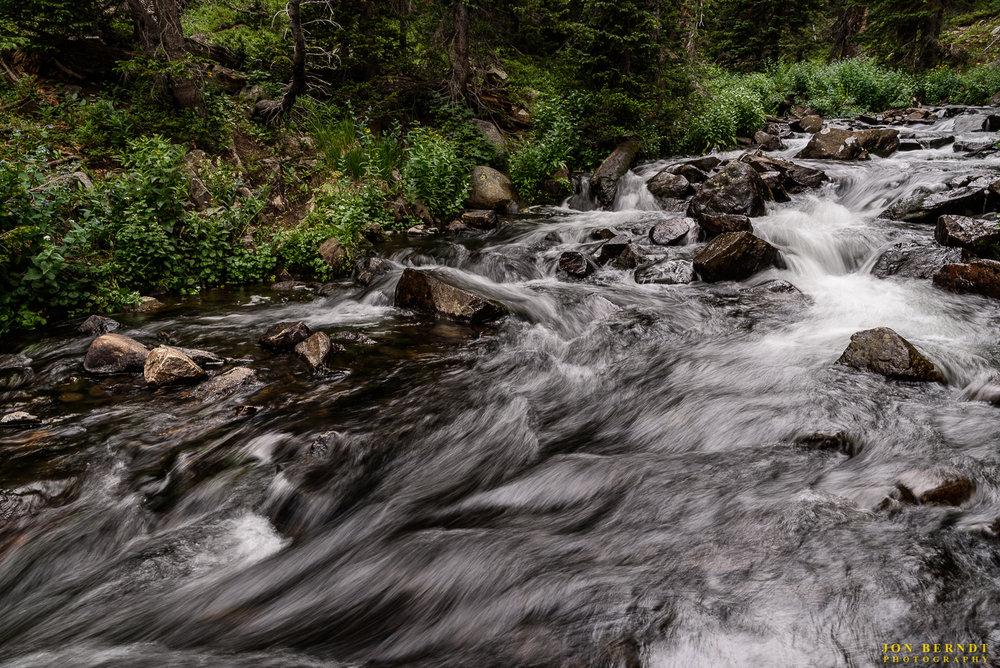 A stream along the trail past Mitchell Lake towards Blue Lake.(C) 2017 Jon Berndt Photography