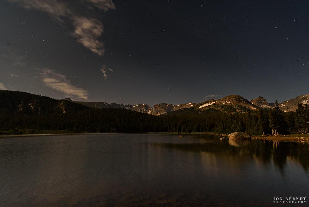 Brainard Lake and the Indian Peaks, illuminated by the Moon.(C) 2017 Jon Berndt Photography