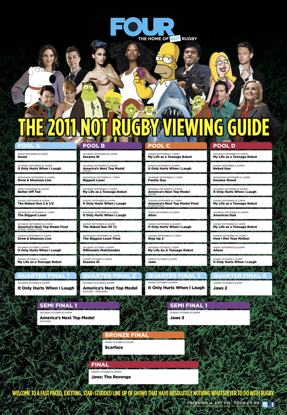 This newspaper pull-out showed exactly what you could watch on Channel FOUR during every single match of the rugby world cup.