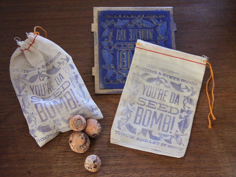 Seed bombs with custom stamped bag