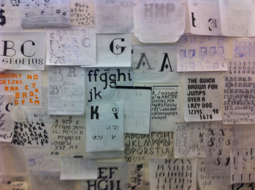 Digital Type Studio sketches on display, CCA