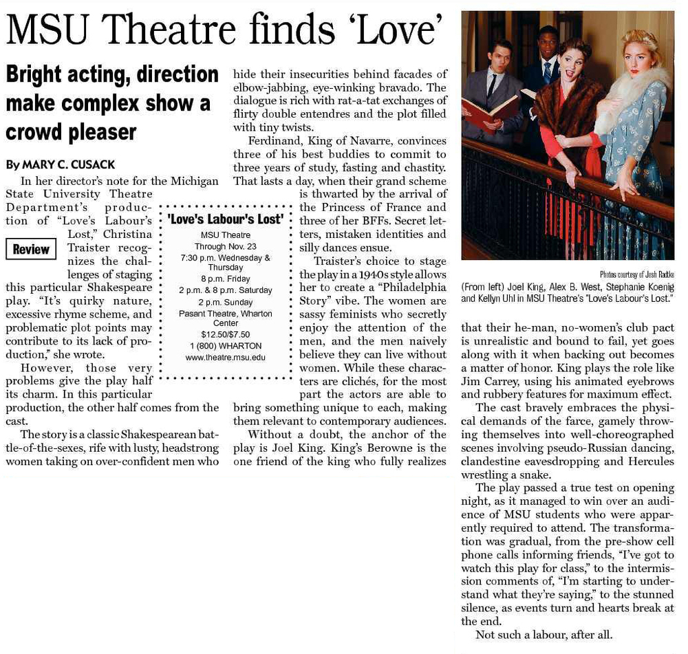 LOVES LABOURS LOST - Michigan State University