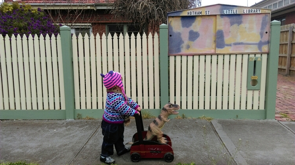 Hotham Street Little Library, Seddon Good range of novels but nothing for kids when we visited. Rav was stoked with his Melways though. Can't argue with a boy and his dinosaur.