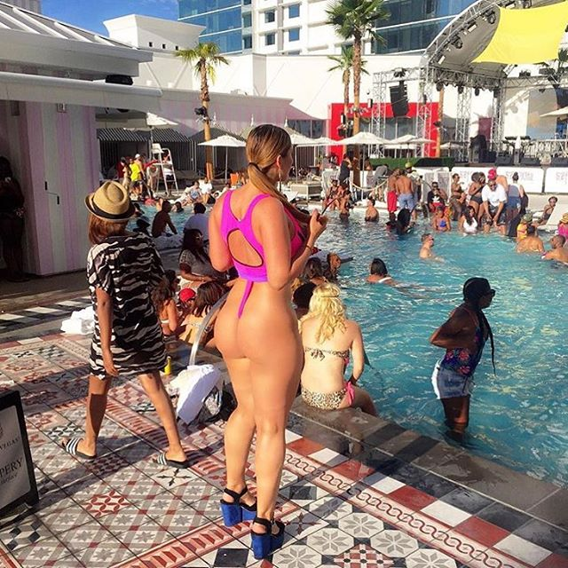 "Fancy Friday looking forward to the weekend... Summer Fancy Swimwear Monikini ""landing strip"" back view! Can you say bold!! @madamfancy rocking it in Vegas!! #letsgosummer #fancyswimwear #customswimwear #poolparty #fancyfriday #booty #ass #landingstrip #swimsuit #bold #fit #fitness #squats #fancyass"