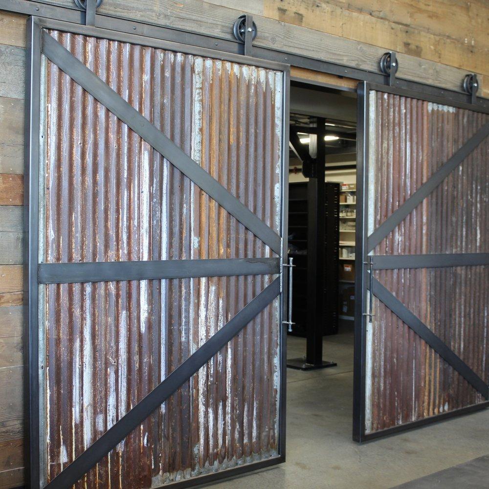 Sheppard\u0027s Reclaimed Corrugated Metal Barn Door + Track & Future Folk Supply Co
