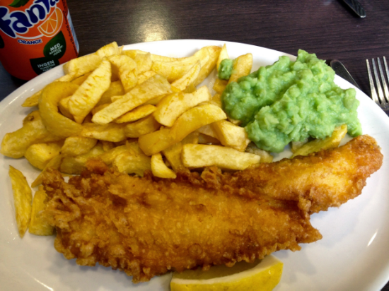 Fish, chips, and mushy peas!
