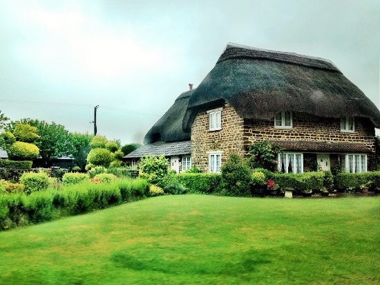 We saw several thatched homes, like this one.