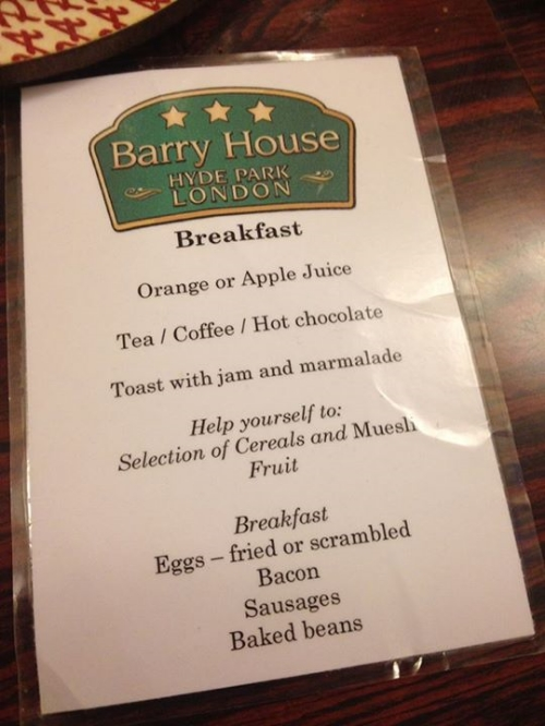 Barry House B&B Menu