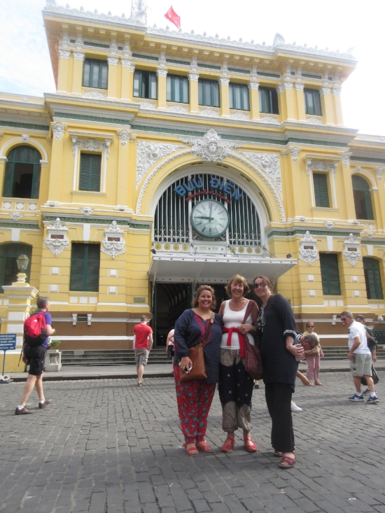 Nervous before the motorbike tour, Saigon Post Office.