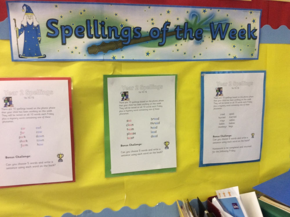 These are our spellings for the week