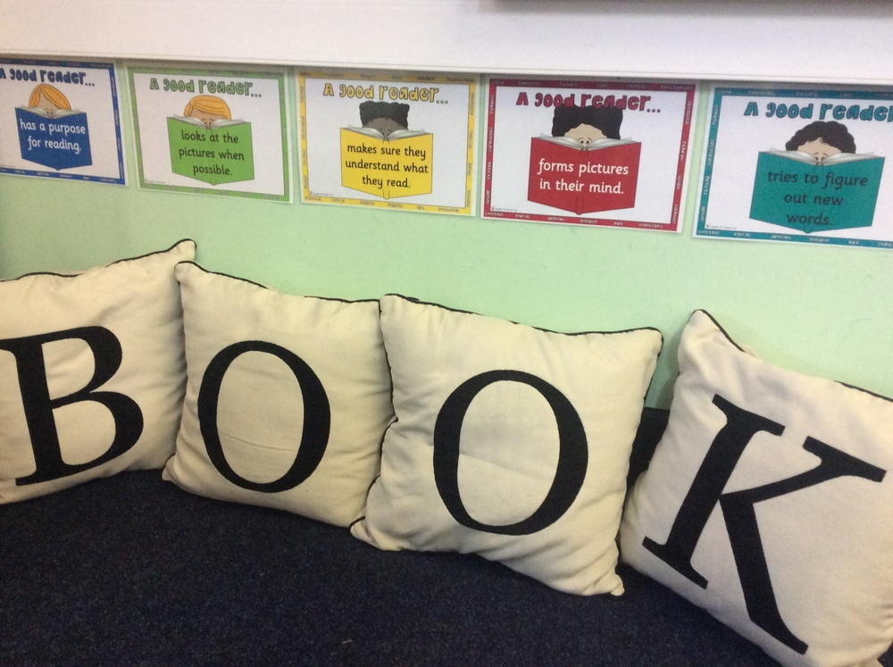 The book corner is a good place to curl up with a good book