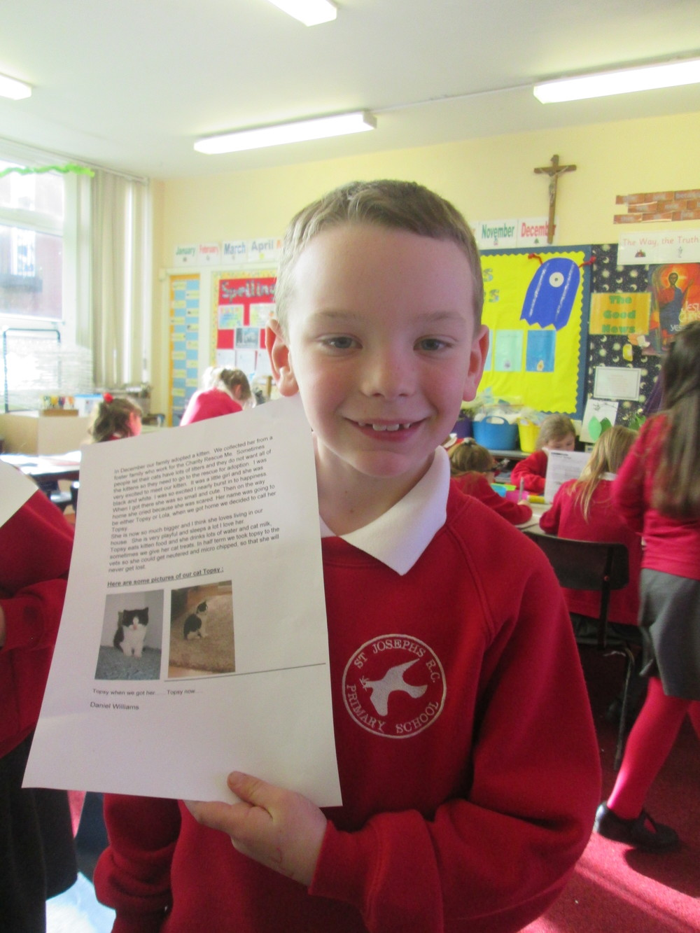 Daniel did a fantastic piece of writing all about his cat Topsy- she is very cute!