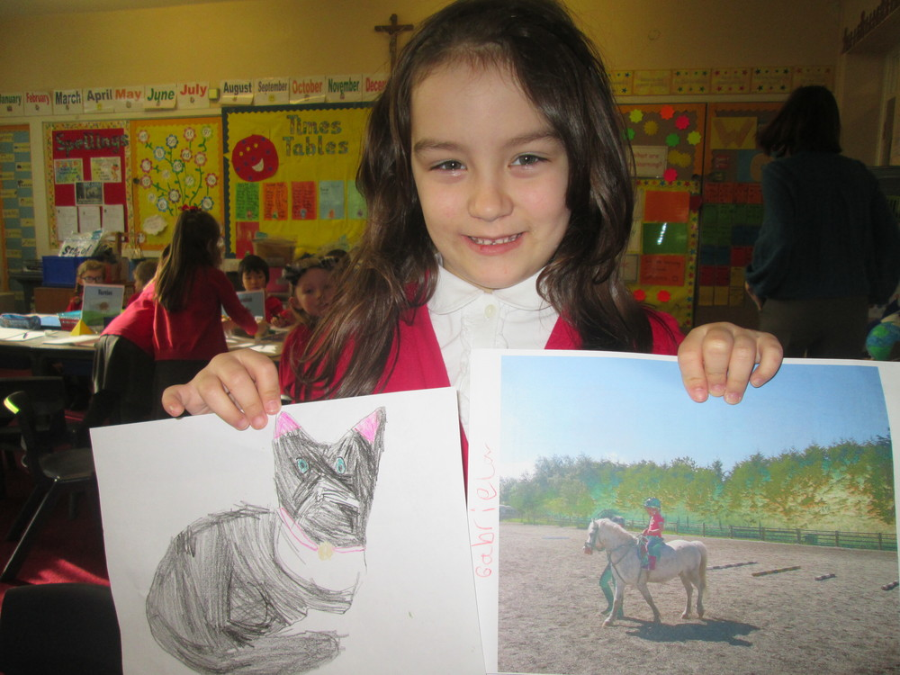 Gabriela drew this fantastic cat picture. She also told us about her horse-riding hobby.
