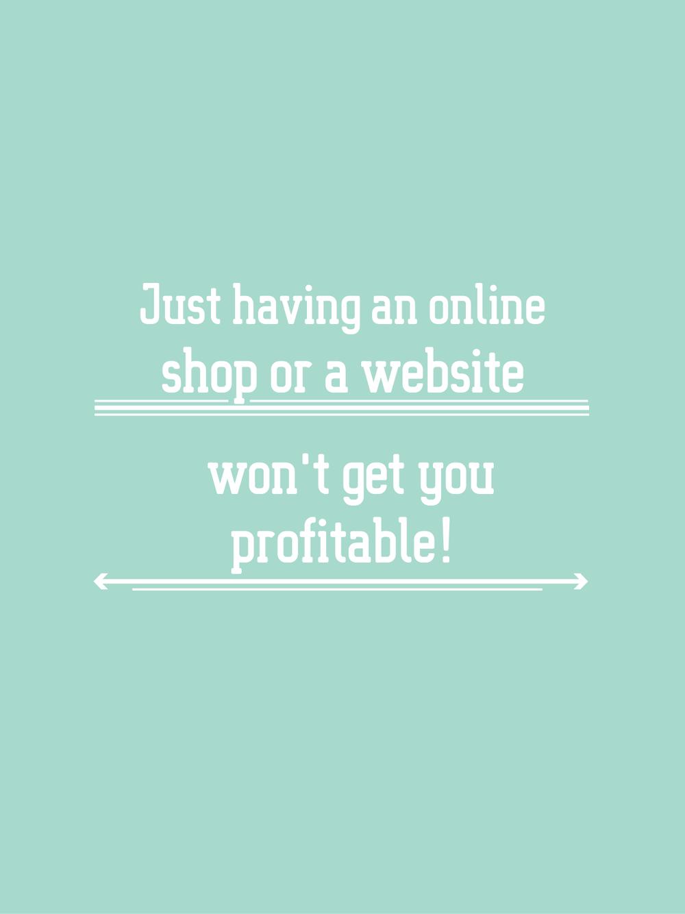 the BIZ school for creatives, Having an online shop or a website won't make you profitable, read the full blog post at www.kerstinpressler.com/blog