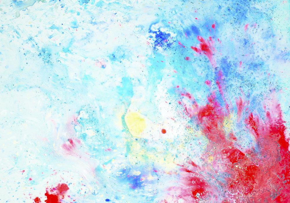 'Blush skies, NO. 4', 42 x 59,5 cm, acrylic paint on Steinpaperbase, Kerstin Pressler, www.kerstinpressler.com