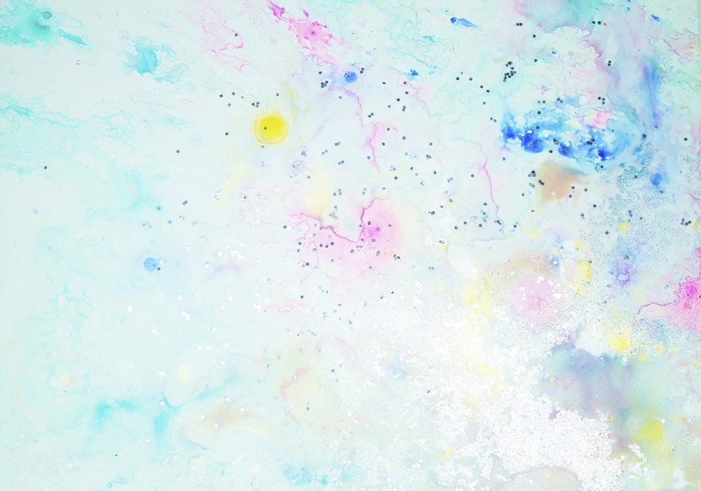 'Blush skies, NO. 1', 42 x 59,5 cm, acrylic paint on Steinpaperbase, Kerstin Pressler, www.kerstinpressler.com