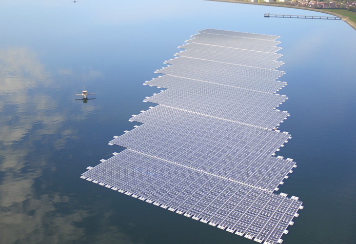 Europe's largest floating solar panel farm, Walton-on-Thames.