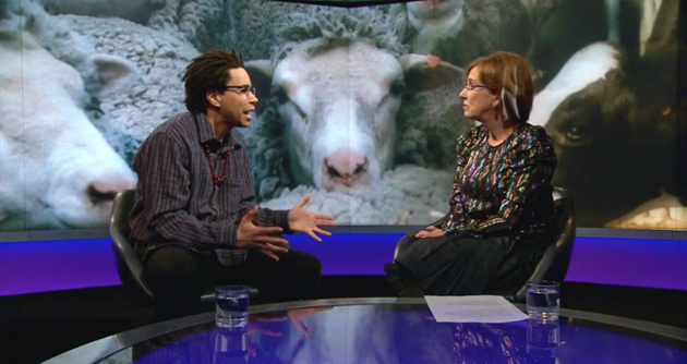 Screenshot: Troye King Jones and Kirsty Wark duke it out on Newsnight.