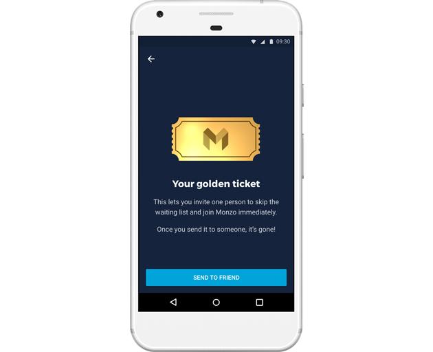 Monzo's golden ticket referral programme. Photo: Monzo.