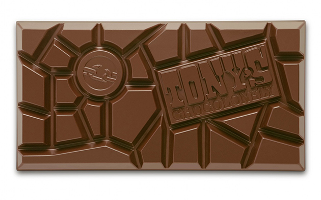 Tony's uneven chocolate design.