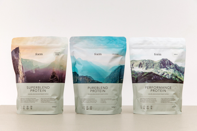The main ingredients in Form's range of protein powders are pea, rice, hemp and algae proteins.