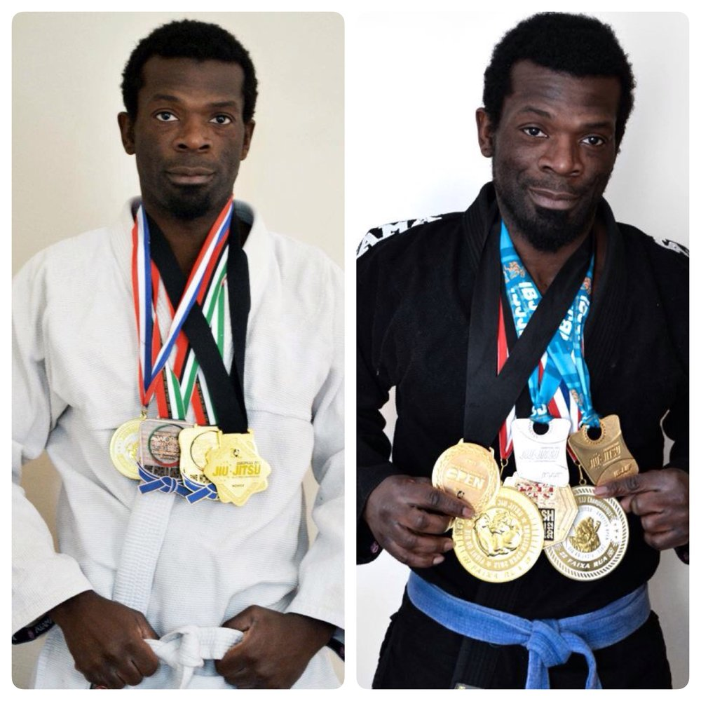 2010 English Open (after four months of BJJ), European champion (after 6 months) then the Abu Dhabi trial Champion and Bronze in Absolute (all weights). Turned Blue belt after 10 months (normally 2 years or more). IBJJF London Open, English Open, European Gold & Silver in Absolute, British Open Gold.