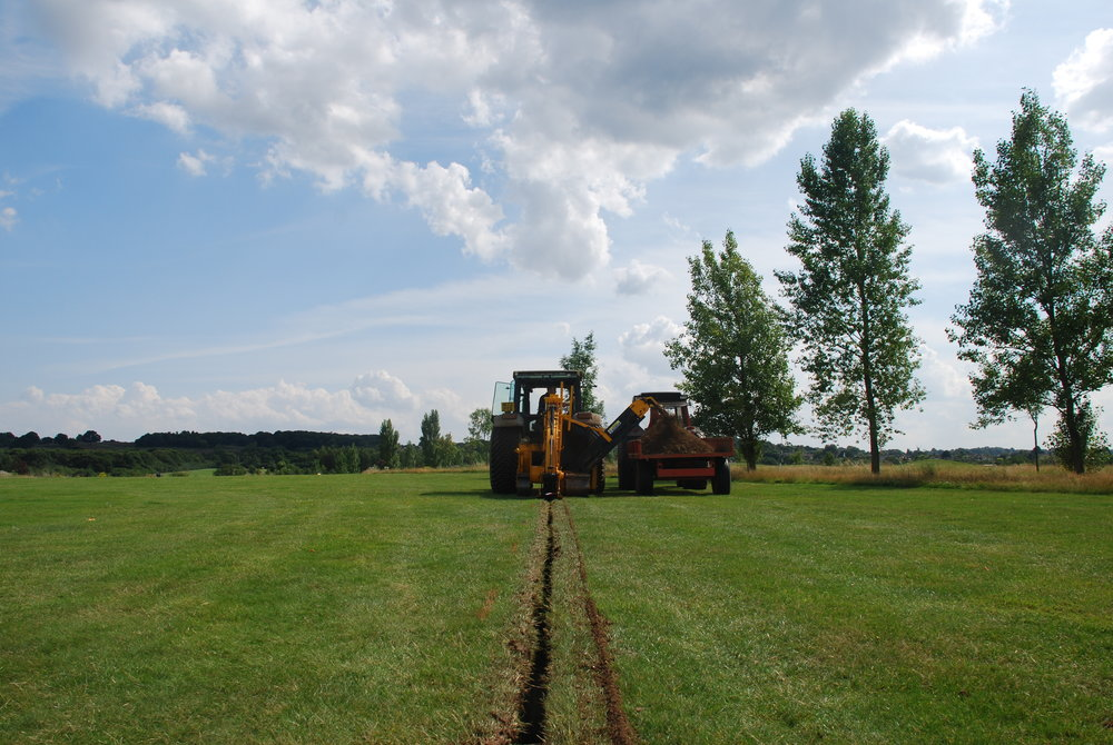 Trenching for 100mm pipe main
