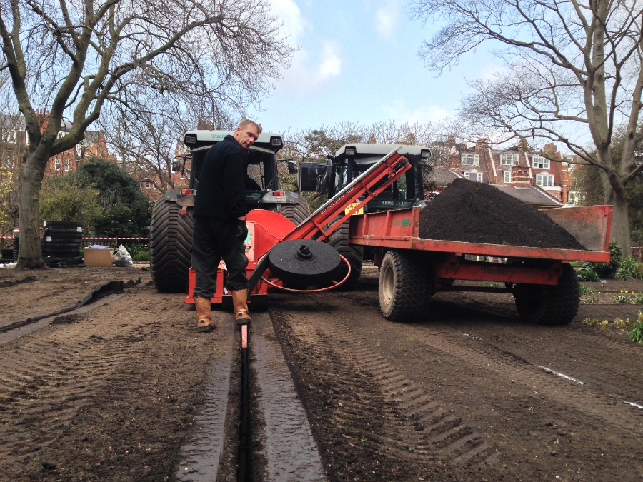 The Turfdry Drainage System using Hydraway Sportsdrain only requires narrow, neat trenches.