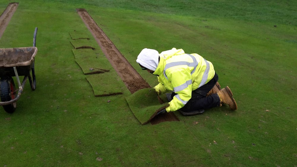 Strips of turf are cut, marked and stored, prior to their reinstatement at the exact point of their removal - to facilitate quick and healthy regrowth.